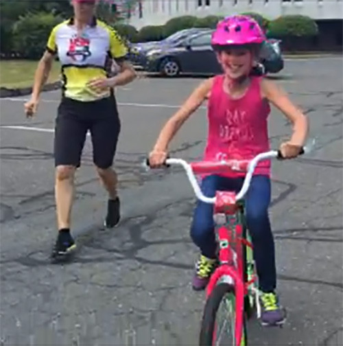 Kids learn to ride their bikes
