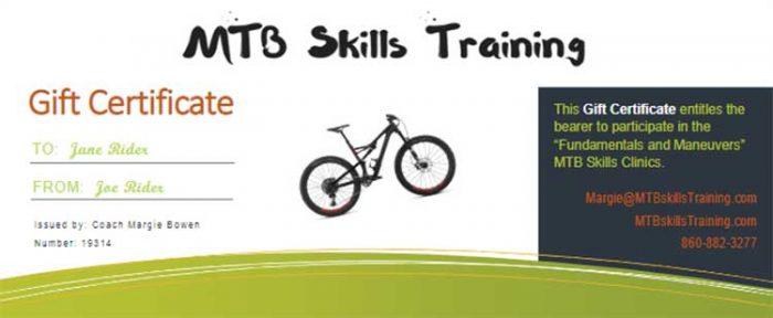 MTB Coaching gift certificates