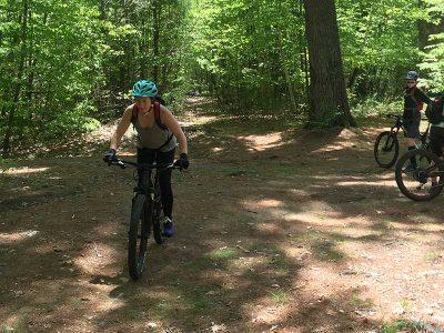 Mountain biker practicing skills
