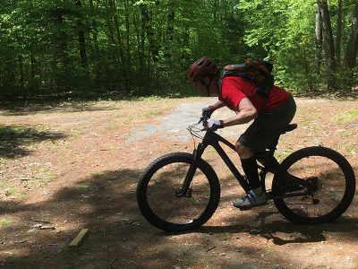 Mountain biker preparing for a level lift