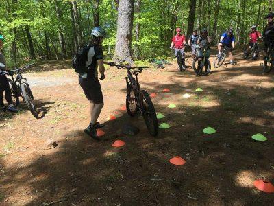 MTB Coach describing the next skills drill between cones